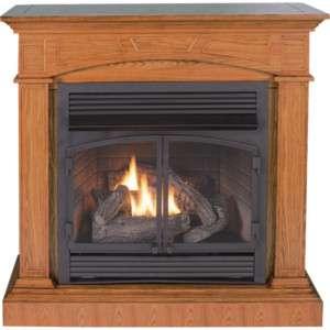 Oak Full Sized Corner Fireplace Dual Fuel Gas Logs