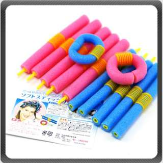 12pc Sponge Hair Curlers Roller Bendy Soft Hair Styling
