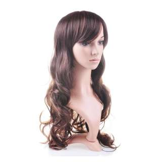 Brown curly long hair wig human health beautiful Kanekalon Synthetic