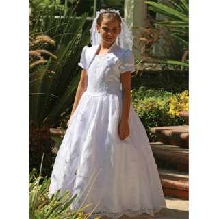 Angels Garment Girls Size 8 White Satin Embroidered Communion Dress