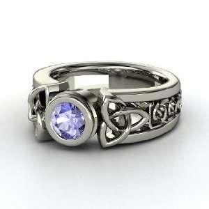 Celtic Sun Ring, Round Tanzanite 14K White Gold Ring Jewelry