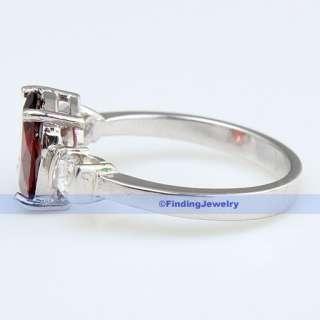 Luxury Fancy Oval Red Garnet Silver Ring Size 8  FINDINGJEWELRY