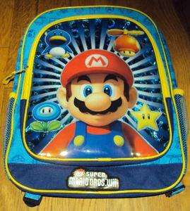 Boys Super Mario Bros. Wii Two Shades of Blue & Yellow School Backpack