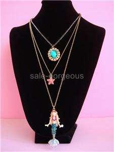 Betsey Johnson Mermaids Tale Star Fish Long Necklace