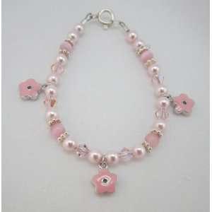Pink Enamel Flowers baby bracelet (BEF) Baby