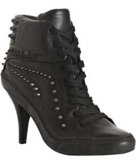 Ash black leather Pink studded ankle boots
