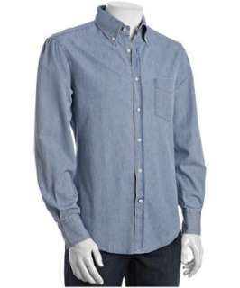 Brunello Cucinelli light wash denim button down shirt   up to