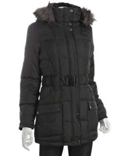 Calvin Klein black quilted belted faux fur hooded down coat