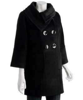 Epic by Lori Glazer black angora wool knit detail coat   up to