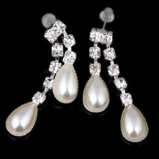 Baroque white pearl set heart pendant necklace dangle earring 41N35