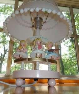 Vtg~IRMI~Nursery~Original~Baby~Girl~Kid~Angels~Pink~Wooden~Wood~Lamp