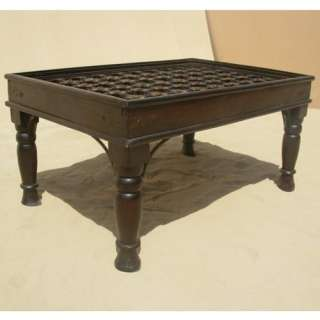Solid Wood Heritage Door Design Coffee Cocktail Table w Wrought Iron