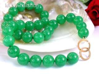 natural green jade bead necklace 9KT gold clasp 18 14m