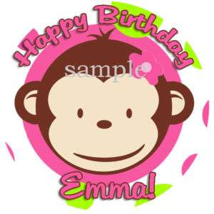 PINK MOD MONKEY Round Edible CAKE Image Icing Topper