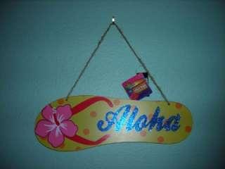 HAWAIIAN ALOHA FLIP FLOP DECORATIVE BEACH WALL SIGN