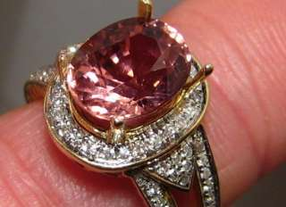 Superb 3.6ct VVS Pink TOURMALINE Diamond Ring 14k Gold