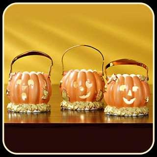 Lenox Pumpkin Votives Set of 3 with Tea Light Candles Fall Autumn NEW