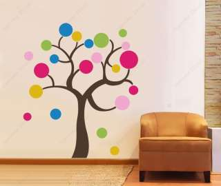 Colorful Circle Tree 84 in   vinyl art wall decals
